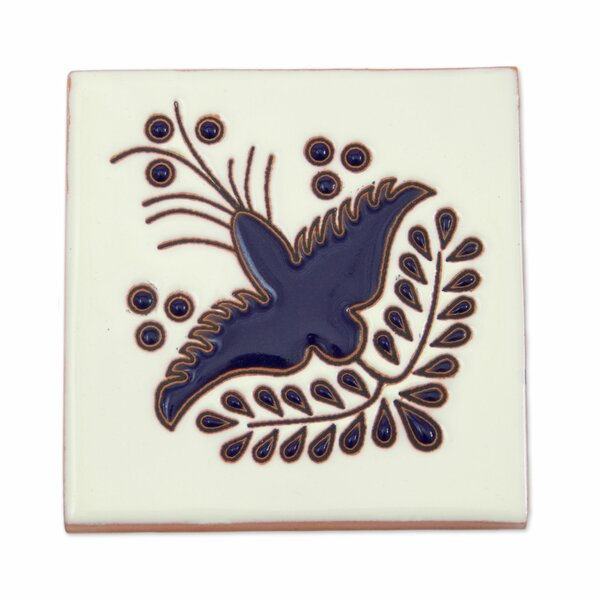 4.1 x 4.1 Ceramic Dove Listello Tile in Blue by Novica