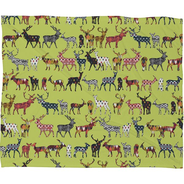 Dake Pistachio Spice Deer Plush Fleece Throw Blanket by Brayden Studio