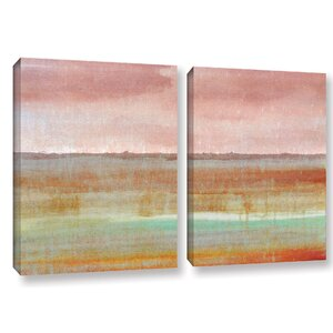 'Landscape Autumn' 2 Piece Painting print on Wrapped Canvas Set by George Oliver