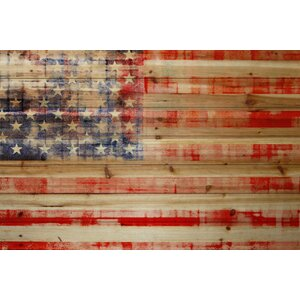 'American Flag' Painting Print on Natural Pine Wood by Marmont Hill