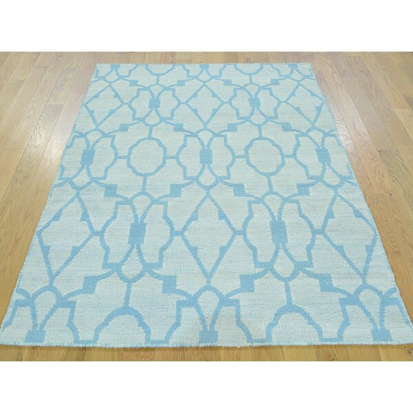 One-of-a-Kind Blandinsville Reversible Handmade Kilim Blue Wool Area Rug by Isabelline
