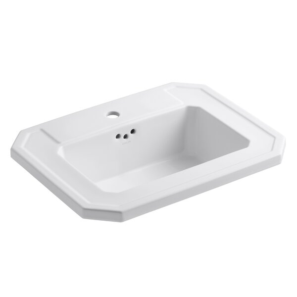 Kathryn® Ceramic Rectangular Drop-In Bathroom Sink with Overflow