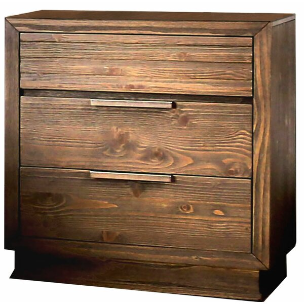 Stutzman Wooden 3 Drawer Nightstand by Union Rustic
