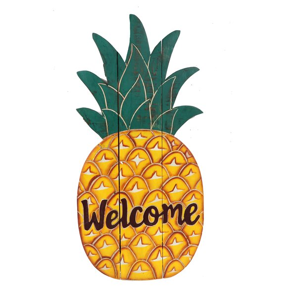 Chambly Carved Pineapple Welcome Sign Wall Décor by Bay Isle Home