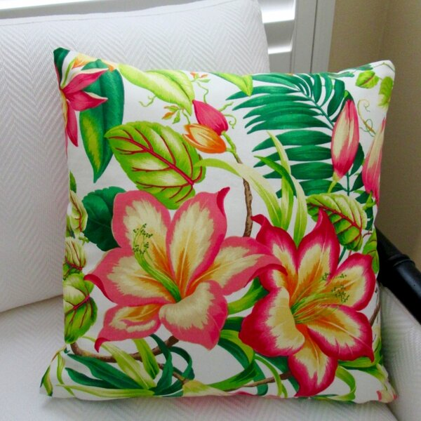 Botanical Glow Tangelo Tropical Hibiscus Indoor Cotton Throw Pillow by Artisan Pillows
