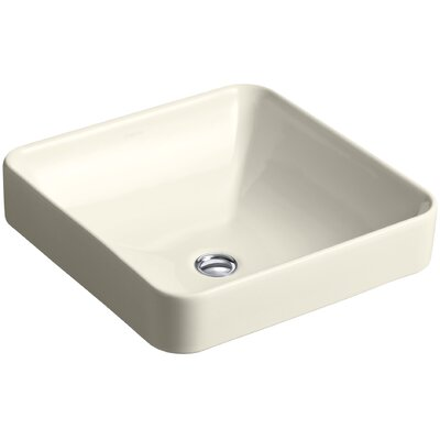 Ceramic Square Sink Overflow Almond photo