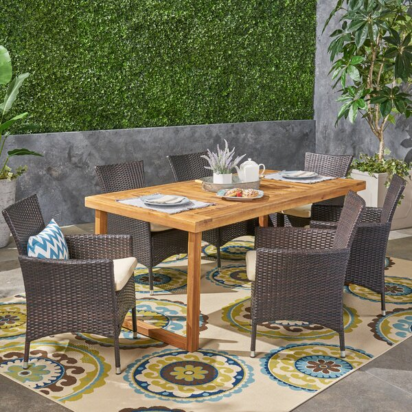 Vikki 7 Piece Dining Set with Cushions by Bungalow Rose