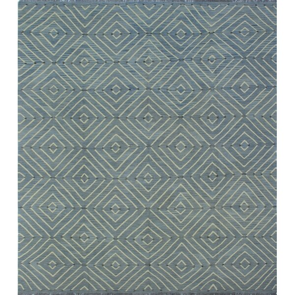 Ackworth Kilim Hand Woven Wool Rectangle Blue Area Rug by Bungalow Rose