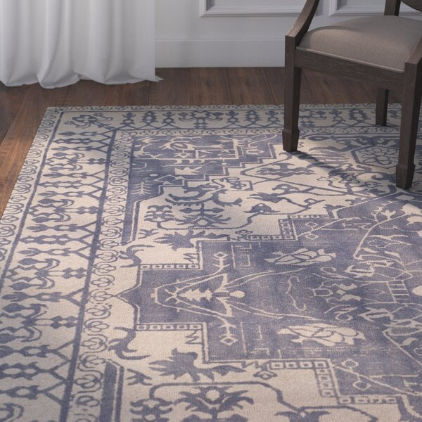Mahoney Ivory and Turquoise Area Rug by Astoria Grand