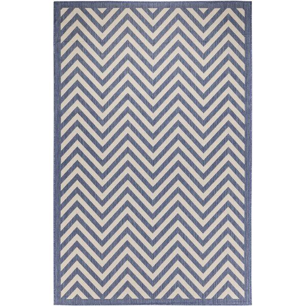 Odysseus Chevron Beige/Blue Indoor/Outdoor Area Rug by Ebern Designs