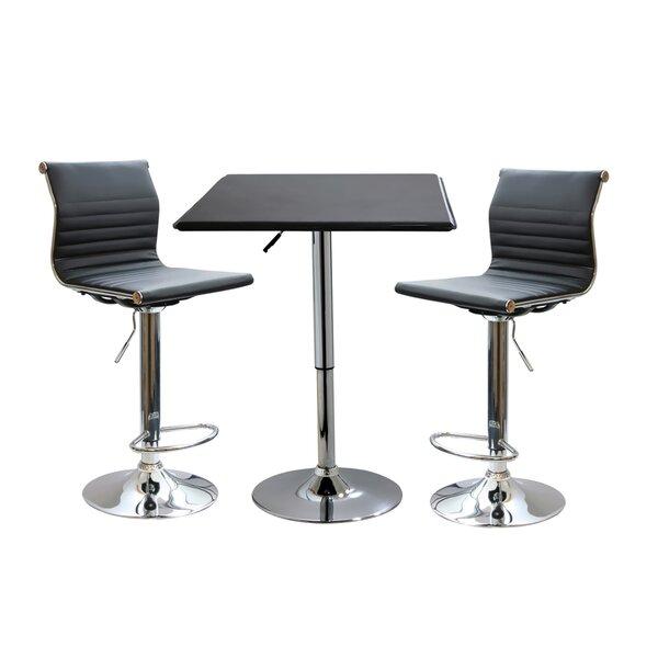 Baseeth Contemporary 3 Piece Adjustable Pub Table Set by Ebern Designs