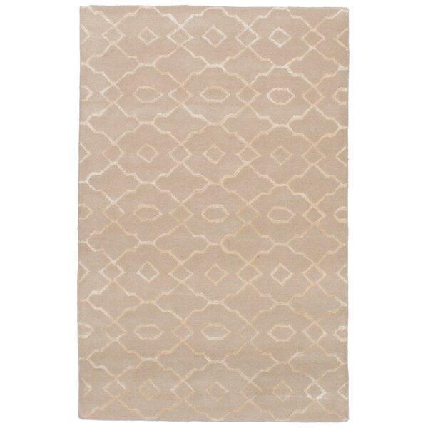 Cannock Hand-Tufted Wool/Silk Tan Area Rug by Mercer41