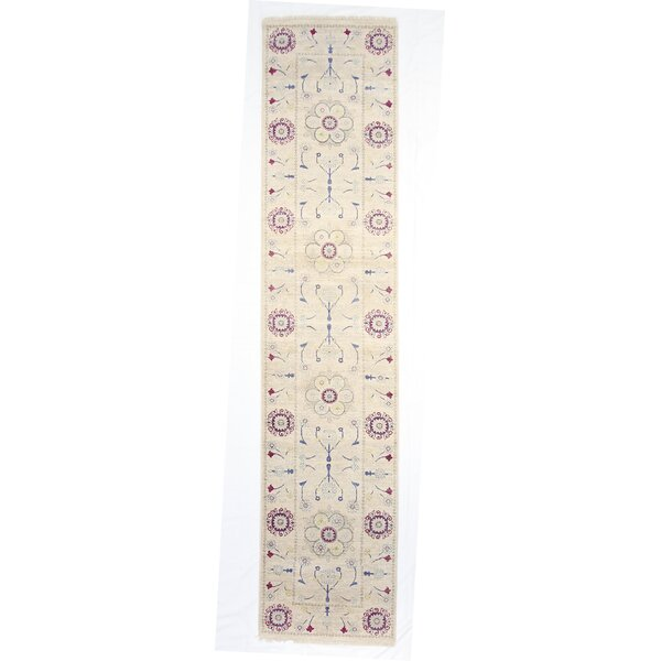 One-of-a-Kind Tamia Hand-Knotted 3 x 12 Wool Ivory Area Rug by Bungalow Rose