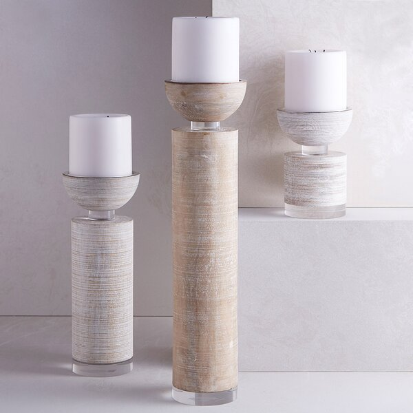 Pillar Wood Candle Holder by Corrigan Studio