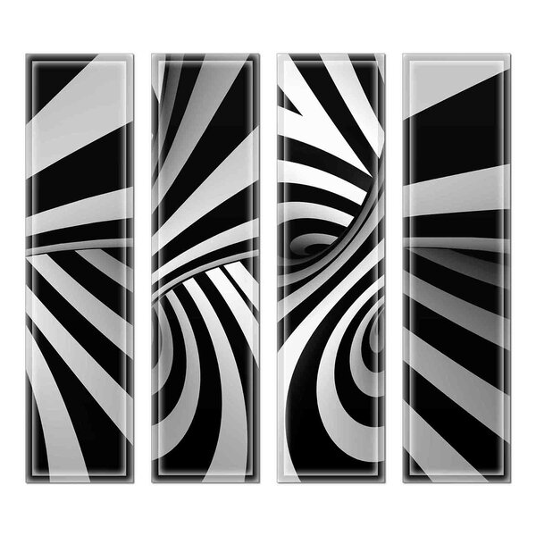 Crystal 3 x 12 Beveled Glass Subway Tile in Black/Gray by Upscale Designs by EMA