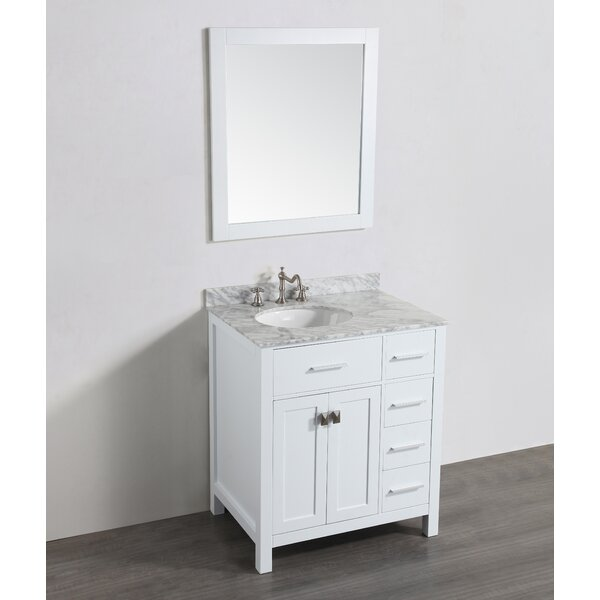Bedrock 31 Single Bathroom Vanity Set with Mirror by Bosconi