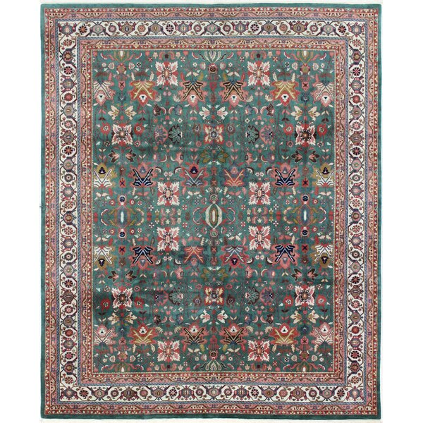 One-of-a-Kind Mellor Bijar Hand-Woven Wool Green/Ivory Area Rug by Bloomsbury Market