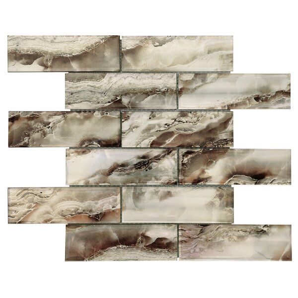 Multi-Tone 2 x 6 Glass Subway Tile in Silver/Gold Vein by Byzantin Mosaic