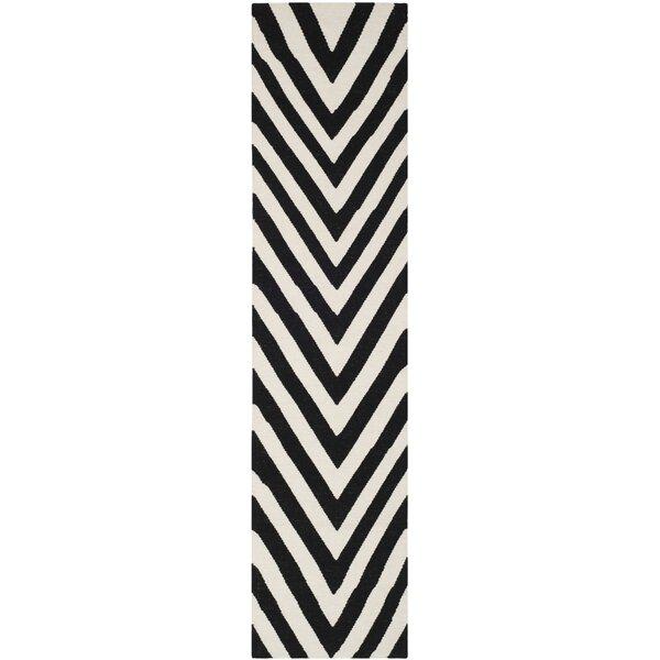 Dhurries Wool Hand-Woven Black/Ivory Area Rug by Safavieh