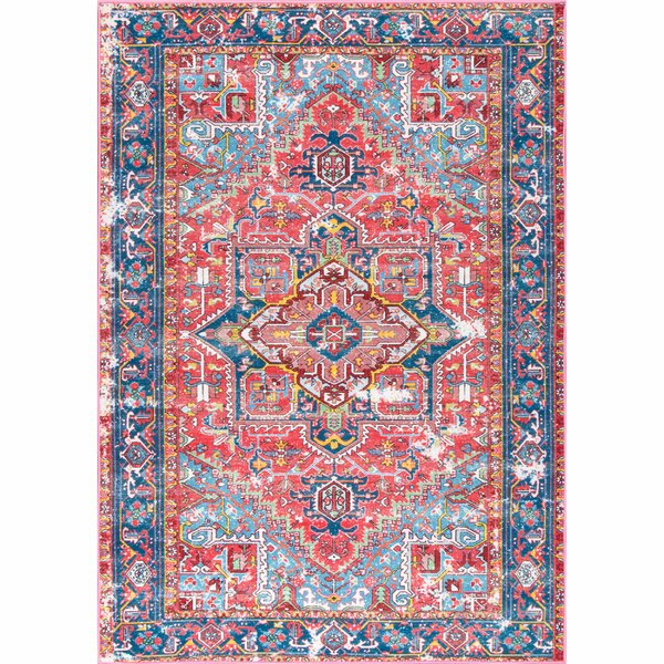 Knute Red Area Rug by Bungalow Rose