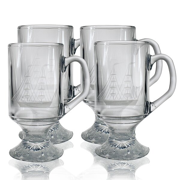 Clipper Ship Hand-Cut Footed Mug (Set of 4) by Susquehanna Glass
