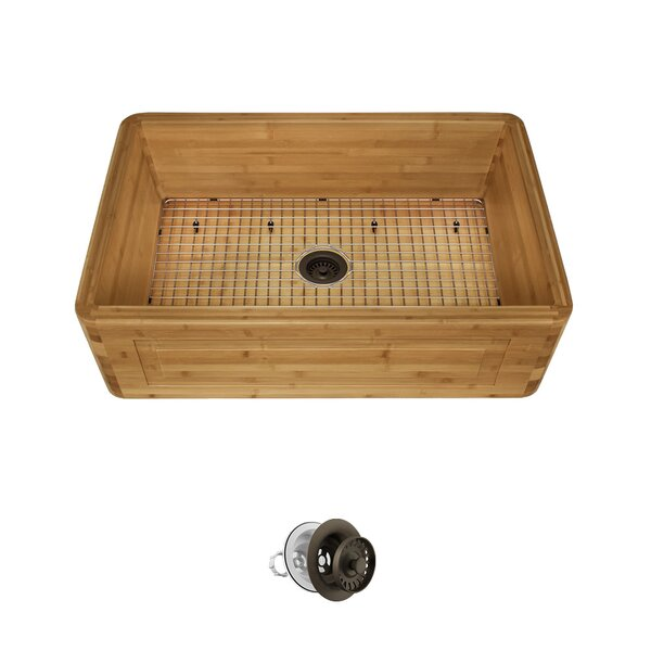 Bamboo 30 x 18 Farmhouse/ Apron Kitchen Sink with Strainer by MR Direct