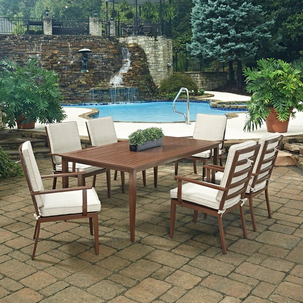 Mauricio 7 Piece Dining Set with Cushion by Longshore Tides