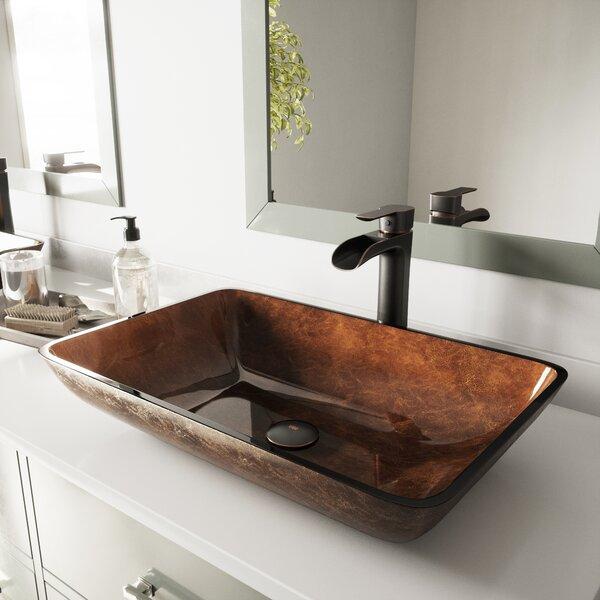 Russet Brown Glass Rectangular Vessel Bathroom Sink with Faucet