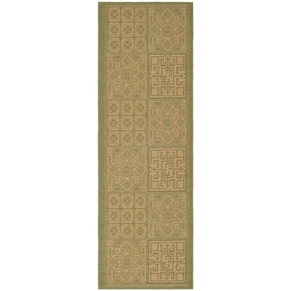 Short Light Green & Natural Outdoor Area Rug by Winston Porter