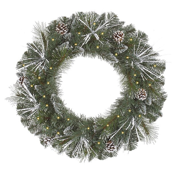 24 Lighted Artificial Flocked and Glittered Mixed Pine Christmas Wreath by Vickerman