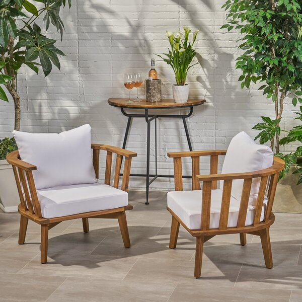 Teague Outdoor Patio Chair With Cushions (Set Of 2) By Rosecliff Heights by Rosecliff Heights Cheap