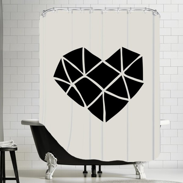 Brett Wilson Polygon Heart Shower Curtain by Brayden Studio