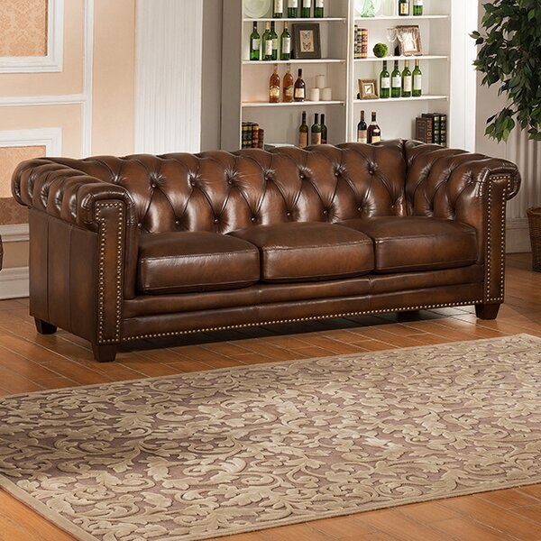 Saffold Leather Chesterfield Sofa by Canora Grey