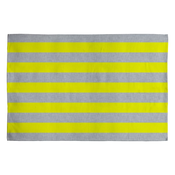 Holli Zollinger Bright Yellow/Grey Stripe Area Rug by Deny Designs