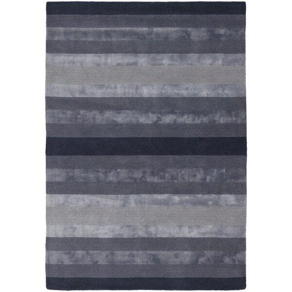 Emlyn Dark Grey Stripes Area Rug by Everly Quinn
