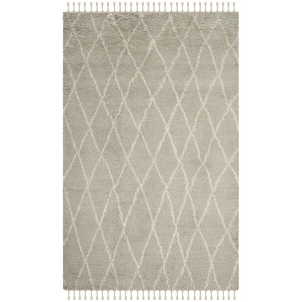 Cosima Hand-Knotted Gray/Ivory Area Rug by Bungalow Rose