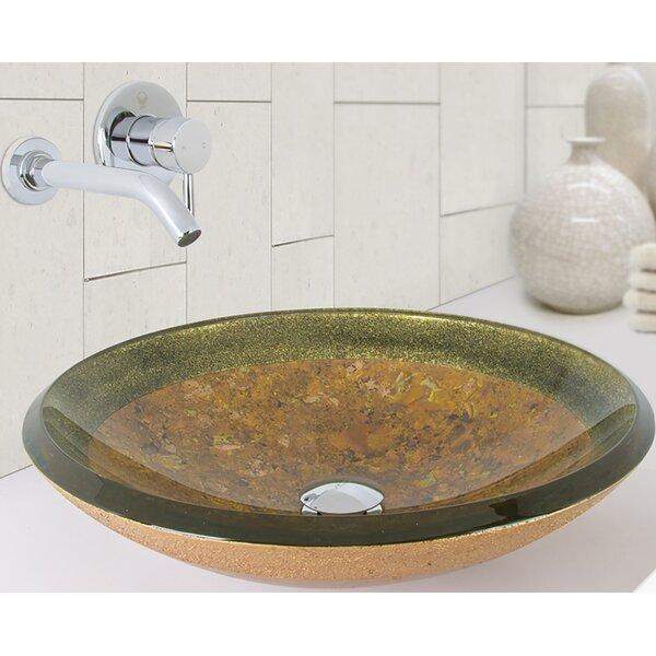 Janus Glass Circular Vessel Bathroom Sink with Faucet by VIGO