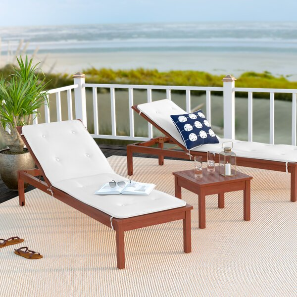 Elsmere 3 Piece Chaise Lounge Set with Cushions by Beachcrest Home Beachcrest Home
