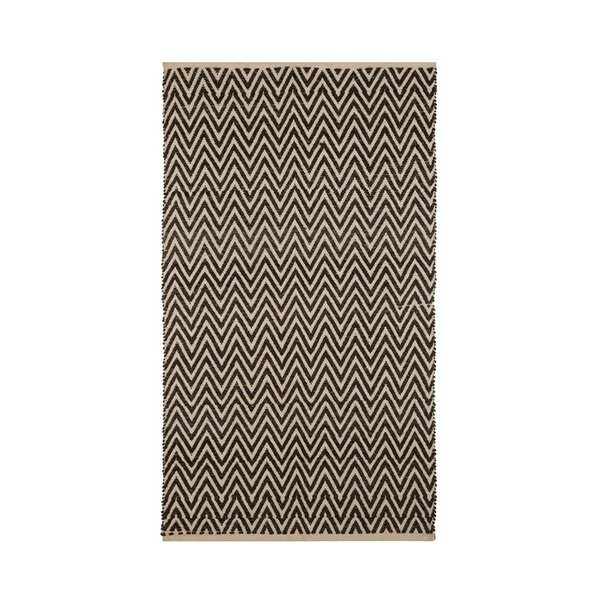 One-of-a-Kind Bourbeau Hand-Woven Wool/Cotton Dark Brown/Beige Area Rug by Ivy Bronx