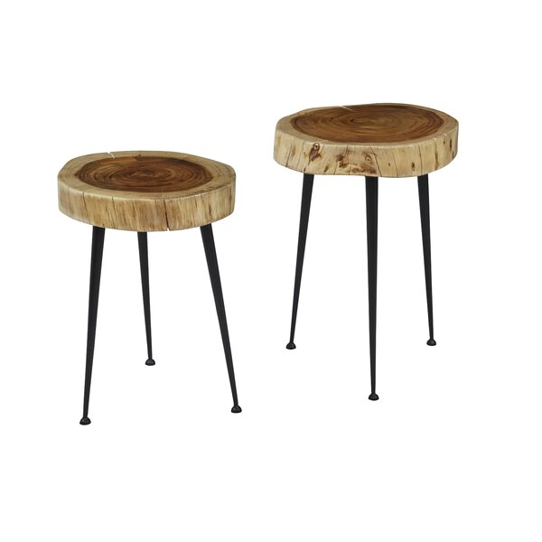 Serafina Global Archive Wood and Iron 2 Piece Nesting Tables by Union Rustic