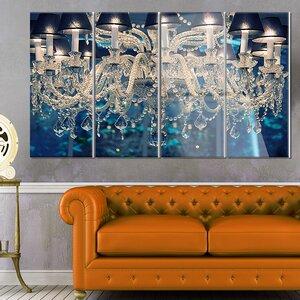 'Blue Vintage Crystal Chandelier' 4 Piece Photographic Print on Canvas Set by Design Art
