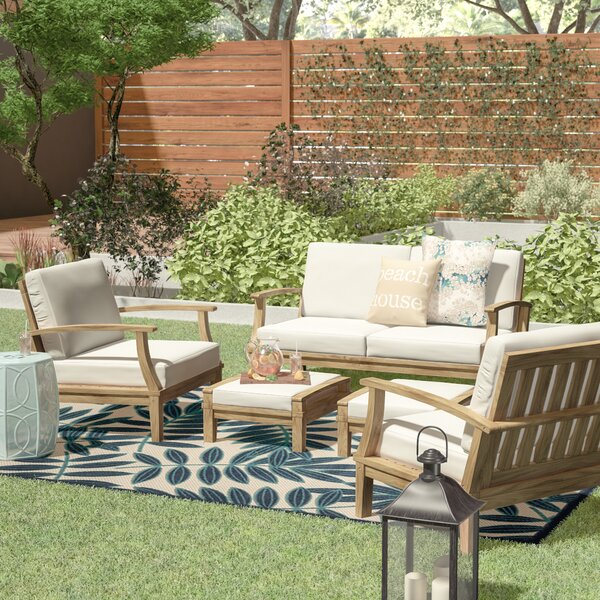 Elaina 6 Piece Teak Sectional Seating Group Set with Cushions by Beachcrest Home Beachcrest Home