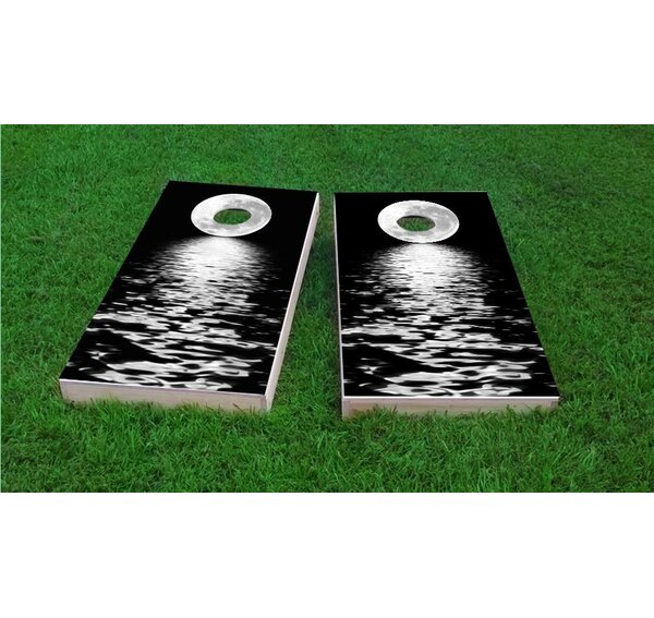 Full Moon Over the Water Cornhole Game Set by Custom Cornhole Boards