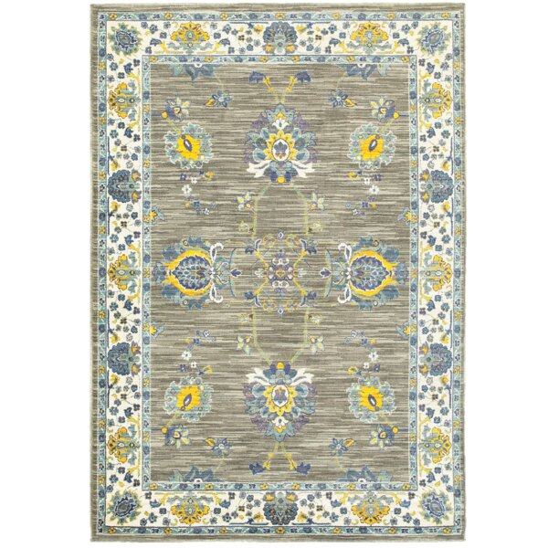 Saige Gray/Yellow Area Rug by Bloomsbury Market