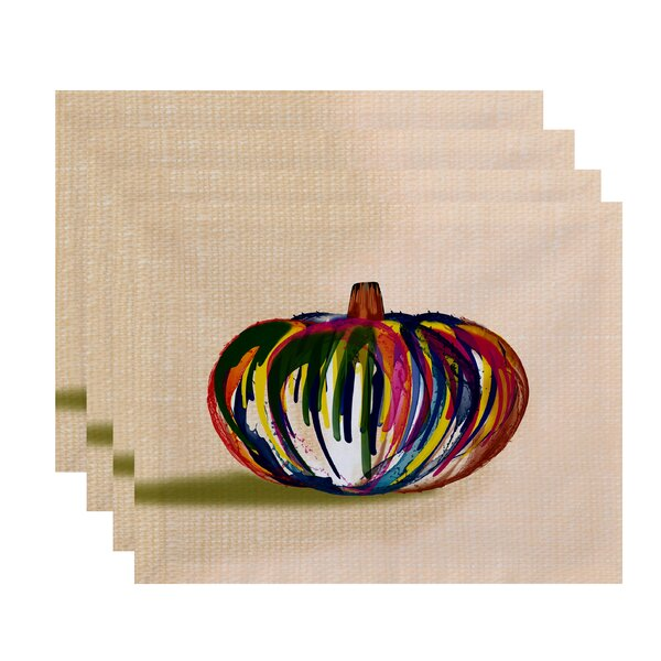 Ames Wax Pumpkin Print Placemat (Set of 4) by August Grove