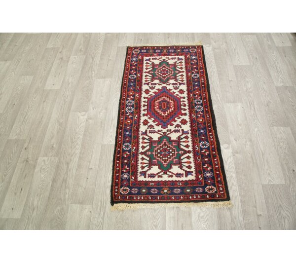 Wora Classcial Heriz Traditoinal Indian Hand-Knotted Wool Beige/Burgundy/Blue Area Rug by Bloomsbury Market
