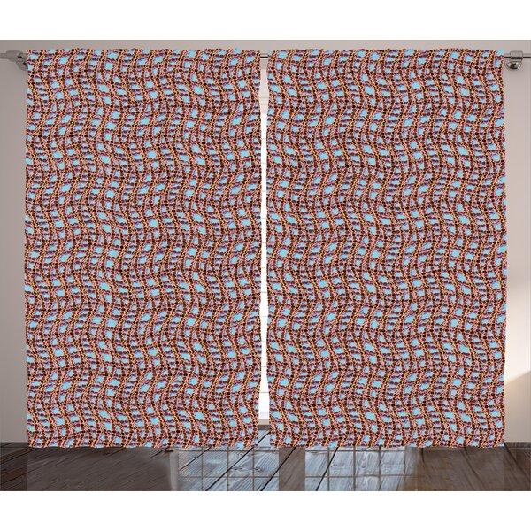 Jake Modern Graphic Print & Text Semi-Sheer Rod Pocket Curtain Panels (Set of 2) by Ivy Bronx
