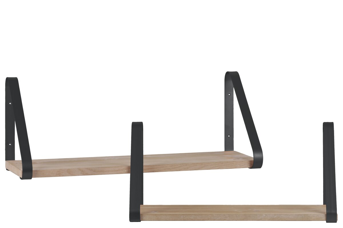 Mazzola Angled Bracket Wood Rectangular Wall Shelf