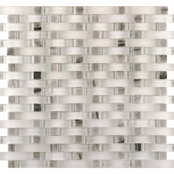 Lucente 12 x 13 Glass Stone Blend Wave Mosaic Tile in Grazia by Emser Tile