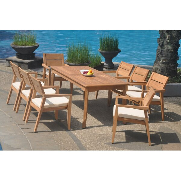 Elmhur 9 Piece Teak Dining Set by Rosecliff Heights